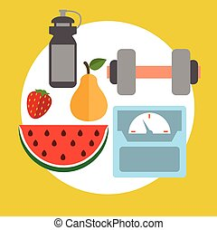 concept icons for rest and relax, medical, Healthy style life, healthy food and farm fresh concept. Sports Health Infographics, flat style, vector.