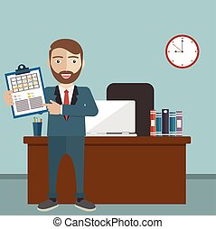 Workday and workplace concept. Vector illustration of a...