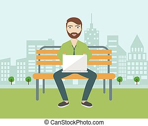 Man with beard sitting in the park and working with laptop. Flat modern illustration of social networking and texting to friends