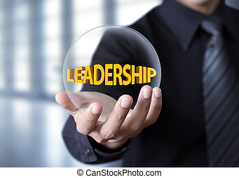 Leadership in crystal ball - Leadership symbol in...