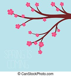 Vector illustration of a spring season in flat style - cherry blossoms