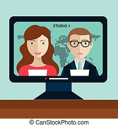 Male and female TV presenters sit at the table. News of the world. Live news