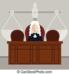 Judge sitting in courtroom, judicial system