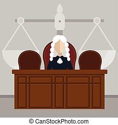 juge, judiciaire, salle audience, système, séance
