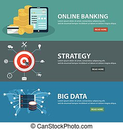 Online e banking, strategy and big data banners in flat...
