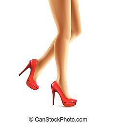 Vector illustration of female legs in red shoes. Vector illustration