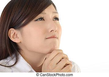 Pray concept of Asian business woman portrait