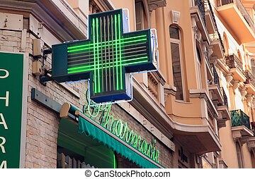 French Pharmacy Sign - Pharmacy Neon Sign. Pharmacy store in...