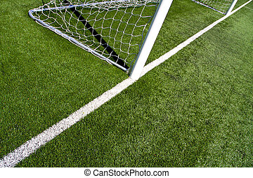 Soccer Goal Posts - closeup on the soccer goal posts and...