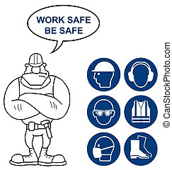 Black Health and Safety Signs - Black mandatory construction...