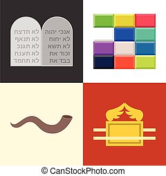 Old testament icons set, rock of 10 commandments in hebrew...