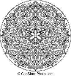 Mandala lineart - Drawing of a floral mandala in ethnic...