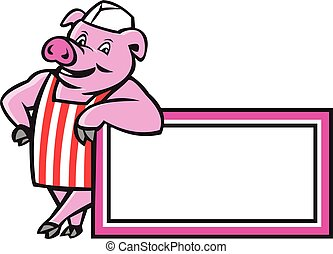 Butcher Pig Leaning On Sign Cartoon - Illustration of a...