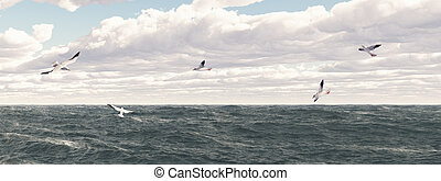 Seagulls - Computer generated 3D illustration with ocean and...