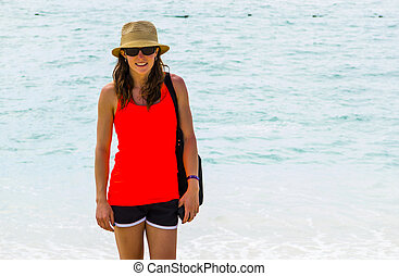 Tourist Woman Sightseeing at Beach on vacation