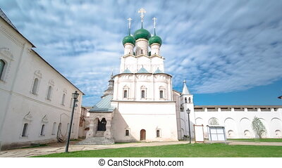 The Church of Resurrection and other churches in Rostov Kremlin timelapse hyperlapse.