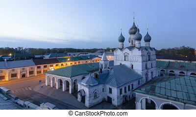 View of the Church of our Savior on the marketplace day to night timelapse in the historical centre of Rostov the Great