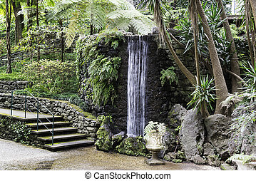 waterfall in tripcal garden Monte Madeira - Waterfall in the...