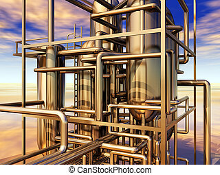 Oil refinery - Computer generated 3D illustration with an...
