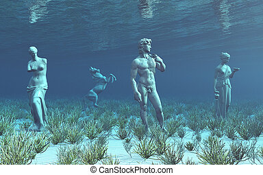 Underwater archaeology - Computer generated 3D illustration...
