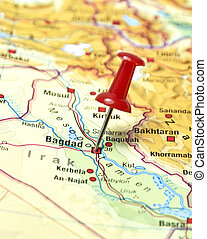 pin set on Baghdad - Map of Irak with pin set on Bagdad.