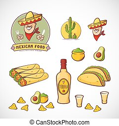 Mexican Food Vector Illustrations Set with Logo Template for Restaurant Menu, Cafe, Meal Delivery. Smiling Man in Traditional Sombrero, Tacos, Burritos, Tequila, etc. Bright Colors.