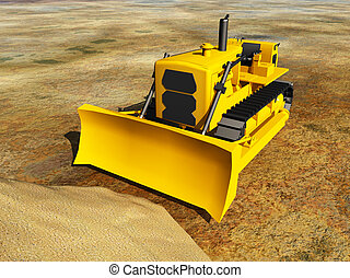 Bulldozer - Computer generated 3D illustration with...