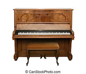 Antique Piano with path - Old fashioned piano isolated on...