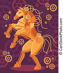 Steampunk Golden Horse Poster - Steampunk art golden horse...
