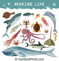 Marine Inhabitants Decorative Icons Set - Marine inhabitants...
