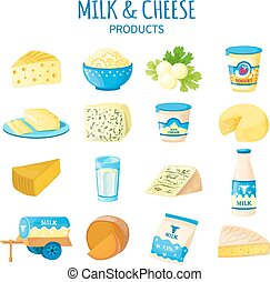 Milk And Cheese Icons Set - Color icons set of dairy...