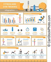 Fitness And Gym Training Infographics - Fitness and gym...