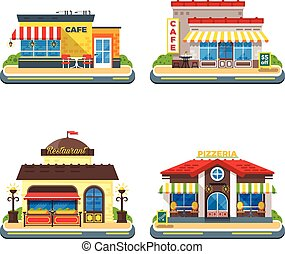 Cafe 2x2 Flat Icons Set - Colorful cafe restaurant and...