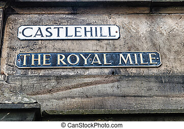 Street sign for Castlehill which is on the historic Royal...