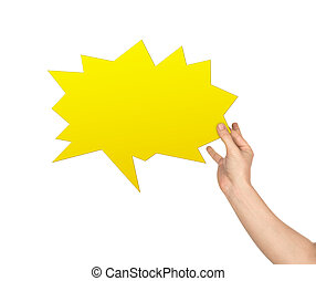 hand holding a yellow speech bubble for your text isolated on white background