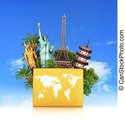 Travel the world monument concept, yellow suitcase, isolated...