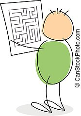 Stick figure with green colored round body reading maze map,...