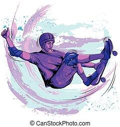 Concept of sportsman doing skateboard stunt