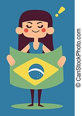 Cute Girl Holding a Brazilian Flag - Vector illustration of...