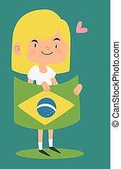 Cartoon Girl Holding a Brazilian Flag - Vector illustration...