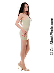 Slim woman in dress - Young slim woman in tightly dress...
