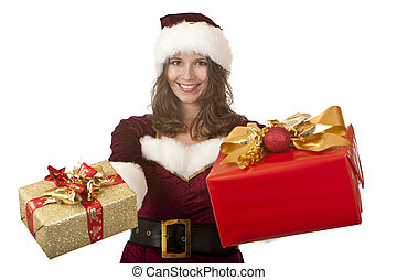 Santa Claus woman holding Christmas gifts in hands - Closeup...