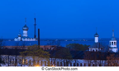 Panorama Kremlin of Rostov the Great timelapse, view with the lake Nero, Russia