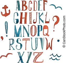 Vector watercolor alphabet in marine style. Colorful letters. Hand drawn font