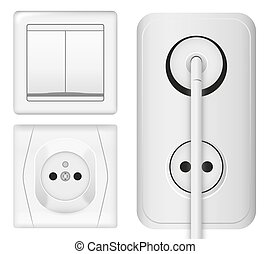 Realistic power socket, cable with plug and light switch. Vector illustration in 3d style.