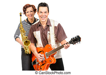 rock and jazz - Guitarist and saxophonist duo in the style...