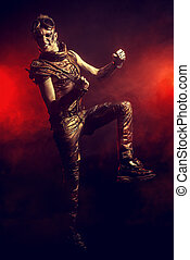 subculture - Portrait of a steampunk man with a mechanical...