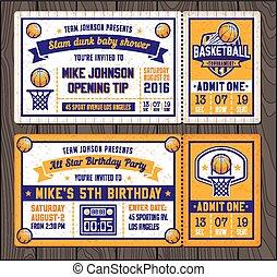Basketball Vector Ticket Templates - Colorful Vector...