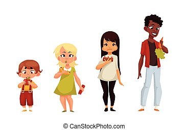Other children eat different food, comic cartoon vector...