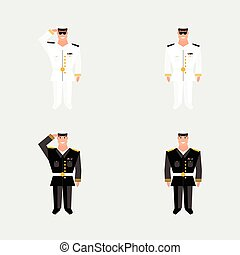 Set american military officer salutes